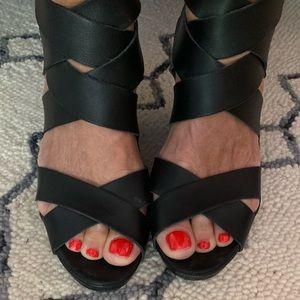 Dolce Vita black leather wedge sandals